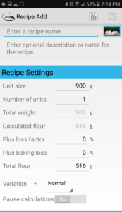 Recipe add screen.